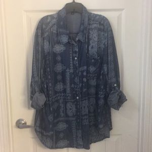26 Denim Paisley Print Button Down by Lane Bryant